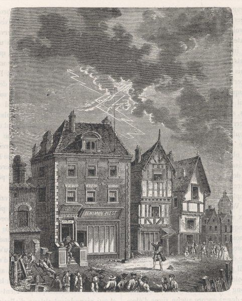 Benjamin Franklin's first lightning conductor on Benjamin West's house