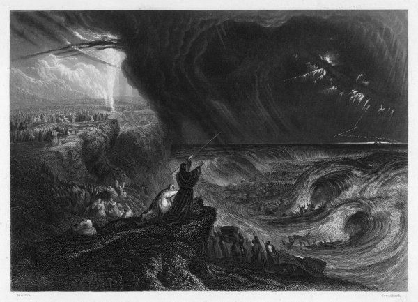 During the Exodus, Moses parts the sea and is guided by a pillar of smoke