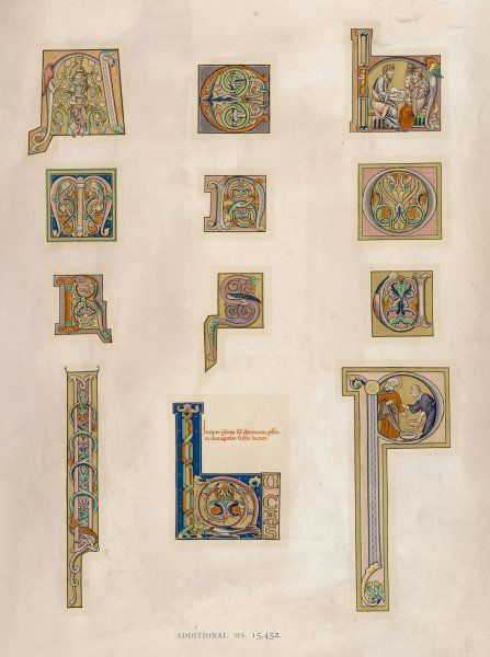Ornamental initial letters from an English Bible