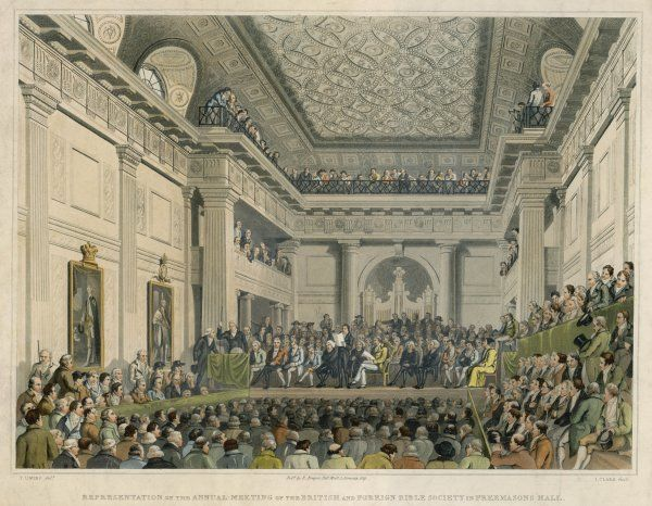 Meeting of the British & Foreign Bible Society in Freemasons Hall. Date: circa 1819
