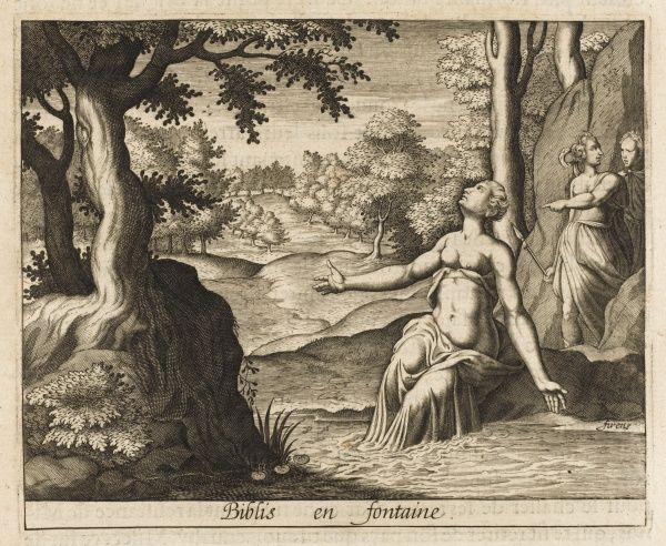 Biblis falls in love with her brother Caunus but he flees her incestuous lust; she, melting into tears, turns into a spring, which doubtless cools her passions