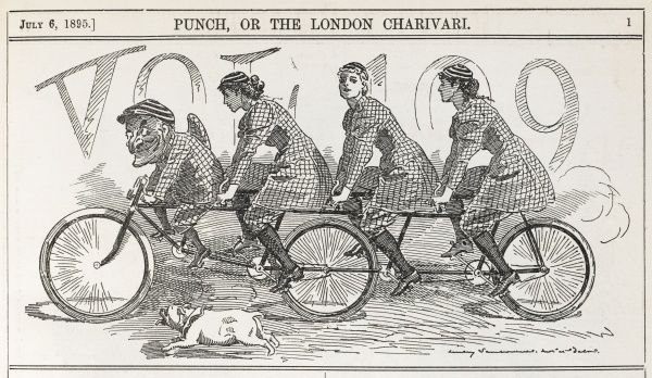 A four-seater bicycle with Punch riding at the front, and three female behind him