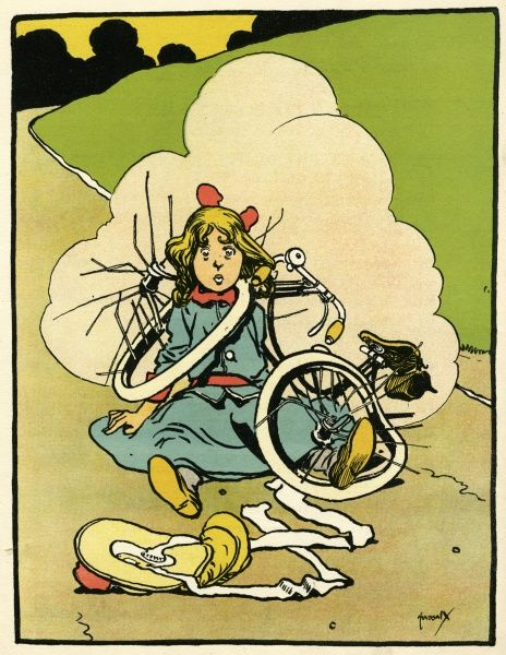 A girl comes right off - and her bike's a write-off ! Date: circa 1900