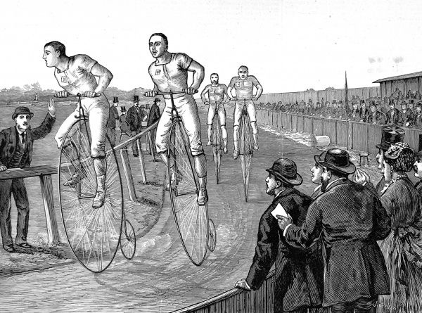 Engraving showing a 'penny farthing' bicycle race held at Lillie Bridge bicycle track, September 1875. Lillie Bridge track was a quarter mile circuit with a cinder surface, that could reportedly hold up to 20,000 spectators