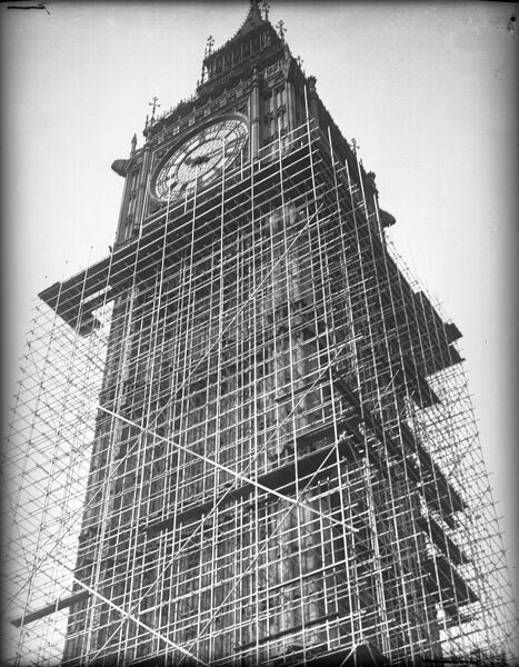 Big Ben 'in splints'! Scaffolding covers the famous London clock tower (Big Ben being the name of the huge bell within it), Westminster, London, during renovation work