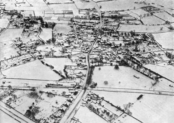 An aerial view of Gozhill, near Barton-on-Humber which lay under a thick mantle of snow after the blizzards of January and February 1947, during one of Britain's worst winters. Lincolnshire and Northern England found itself with blocked roads