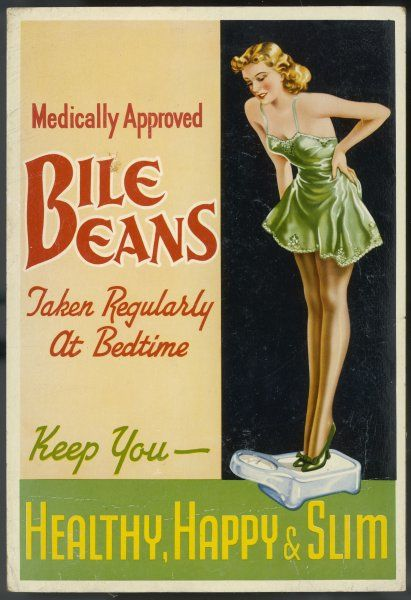 A lady in her slip weighs herself and is delighted to find that her bedtime treat of Bile Beans (yuk !) is keeping her healthy, happy and slim