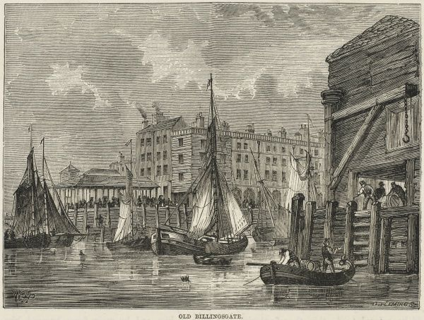 Fishing boats bring their catch to the quayside at Billingsgate fish market