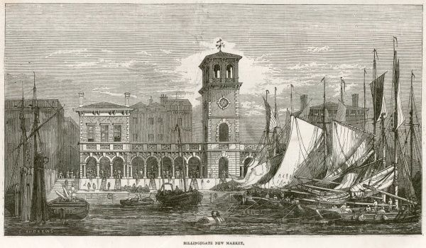 Engraving showing the, then recently opened, Billingsgate Fish Market on the north bank of the River Thames, in London, 1852. On the right of the image a number of sailing fishing boats are shown, moored alongside the market