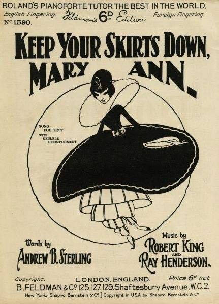 """Keep Your Skirts Down Mary Ann"". Mary Ann attempts to hold down a billowing saucer shaped skirt that she wears over several striped under- skirts & a pair of harem pants Date: 1925"