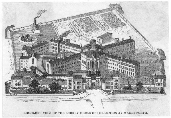 A bird's-eye view of the Surrey House of Correction, Wandsworth, now known as Wandsworth Prison, London