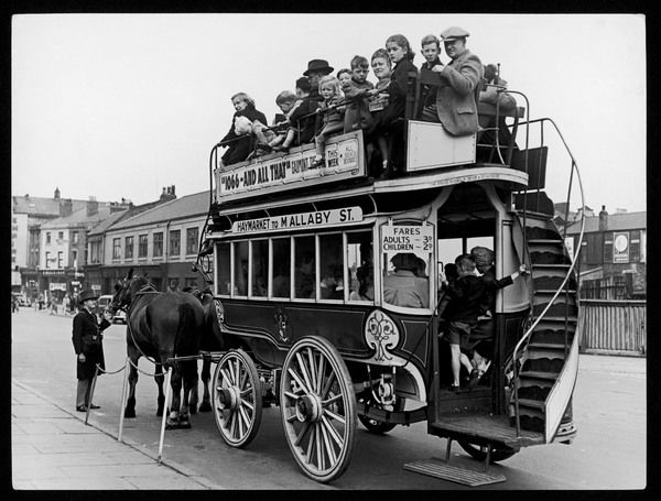 A (19th century) horse bus in service during Festival Week at Birkenhead, Merseyside. England