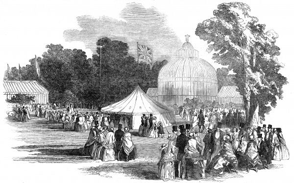 "Birmingham and the Great Exhibition-a fete champetre at the Botanic Garden in 1851. Royal commissioners and other officers of the Great Exhibition visited Birmingham to see its ""manufacturing celebrities"", and rounded off their tour with a meal"