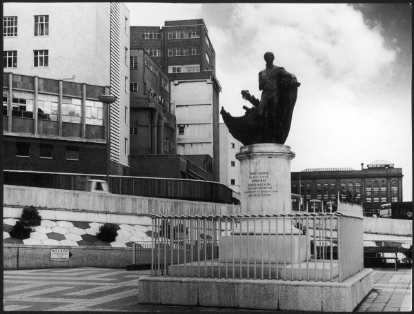 This monument to LORD HORATIO NELSON, next to the (now demolished) Bull Ring, Birmingham, England, was sculpted in 1809 by Sir Richard Westmacott, R.A