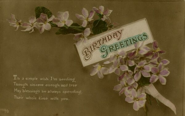 Birthday Greetings -- a spray of pink and white flowers on a birthday postcard. Date: early 20th century