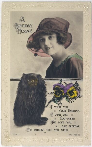 A King Charles Spaniel and a girl on a postcard sending a birthday message