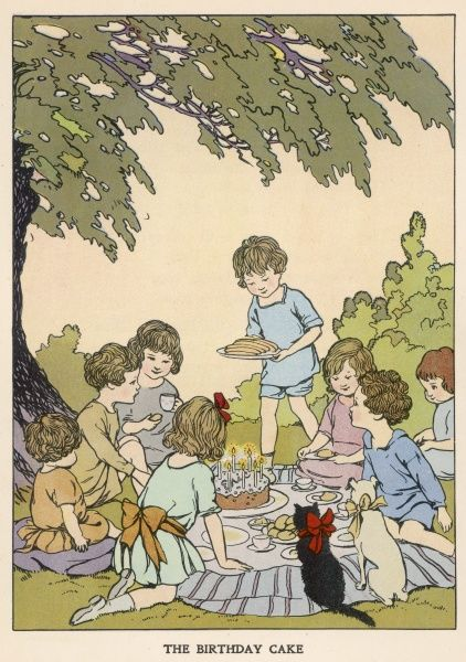 A group of very well-behaved children as well as an obedient cat and dog sit down to a birthday picnic in the country. A cake with candles takes centre stage