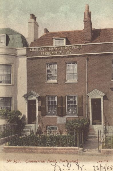 The birthplace (7 February 1812) of Charles Dickens, English novelist, in Commercial Road, Portsmouth