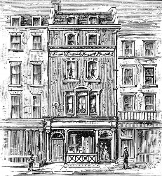 Engraving showing the house in Holles Street, Cavendish Square, London, where George Gordon, Lord Byron, was born in 1788