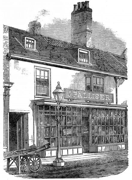 Engraving showing the house in Spilsby, Lincolnshire, where the British naval commander and explorer, Sir John Franklin, was born in 1786