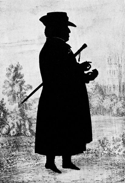 The Bishop of Bangor, the first full-length portrait taken by the famous silhouettist, August Edouart in about 1825. Date: c. 1825