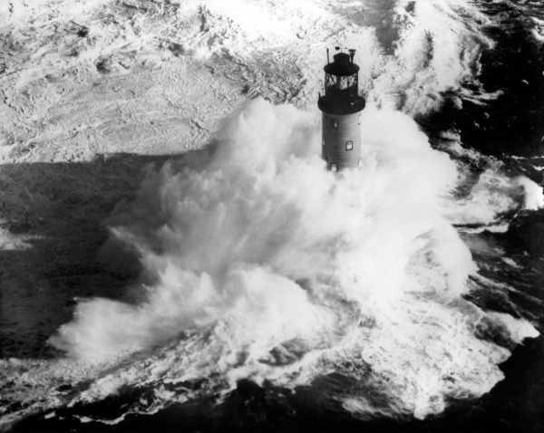 The Bishop Rock Lighthouse in a Force 8 gale