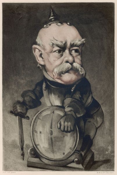 OTTO graf von BISMARCK depicted as a warmonger by the French caricaturist