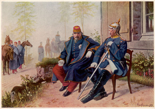 After the battle of SEDAN, a triumphant Bismarck chats with the defeated Napoleon III