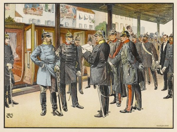 Bismarck reads the French reply to the Ems telegram to Wilhelm I at Potsdam Station