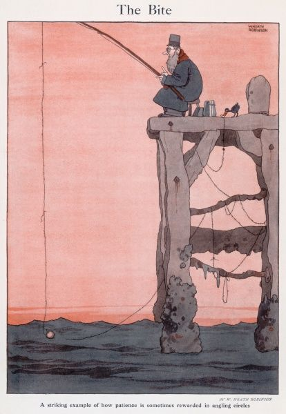 Cartoon, The Bite. A striking example of how patience is sometimes rewarded in angling circles. A bird takes the bait from a man fishing. Please note: Credit must appear as Courtesy of the Estate of Mrs J.C.Robinson/Pollinger Ltd/ILN/Mary Evan&quot