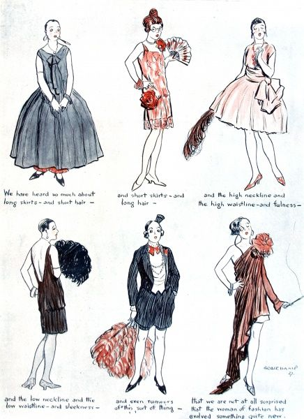 A drawing by Beauchamp satirising the changing female fashions of 1928
