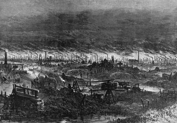 A view of the Black Country with smoke rising from the industrial factories around Wolverhampton in the Midlands