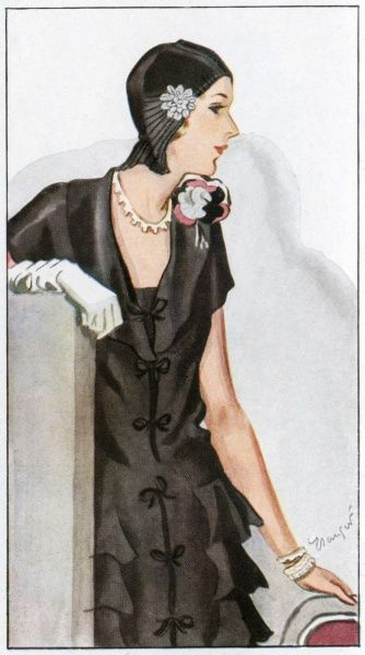 Ensemble by T S Talbot: black crepe satin dress with deep fold-over collar, bow fastenings down the front, cap sleeves & tiered flounces descending from the hips