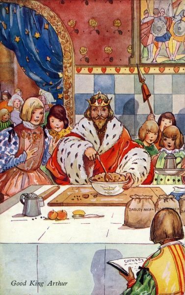 When good King Arthur ruled this land, He was a goodly King. He stole three pecks of barley-meal, To make a bag pudding. A bag-pudding the king did make, And stuffed it well with plums, And in it he put great lumps of fat, As big as my two thumbs
