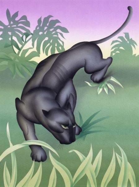 A highly stylised airbrush painting by Malcolm Greensmith of a Black Panther, a melanistic jaguar (Panthera onca), on the prowl through a moodily-lit jungle setting