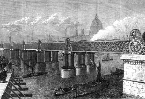 Blackfriars railway bridge crossing the River Thames in the City of London. Date: 1864