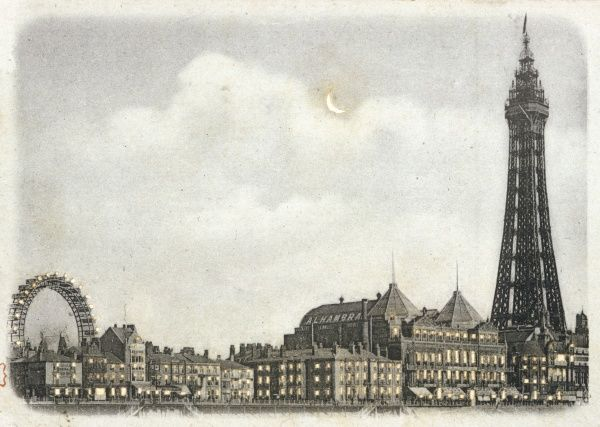 An exciting view of the town, seen from the North Pier, showing the Big Wheel, the Tower, and a New Moon which has actually been cunningly cut into the card itself
