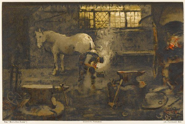A village blacksmith at work, shoeing a horse. Date: 1894