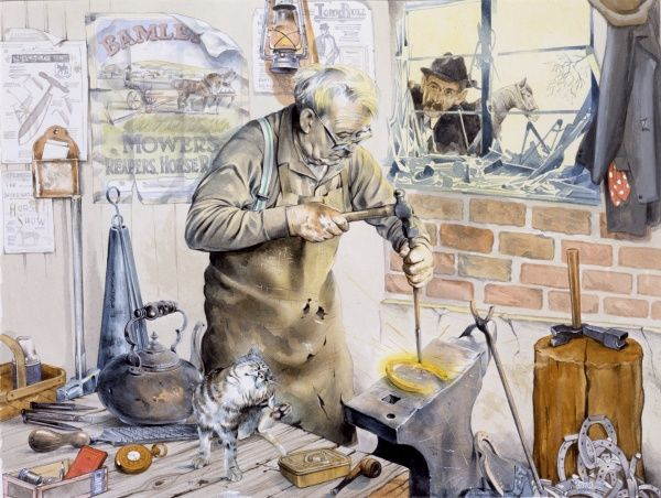 An elderly blacksmith hammering a horseshoe on his anvil. The owner of the horse awaiting a new set of shoes looks in at the window, while the blacksmith's cat scratches an ear on the work bench. Painting by Malcolm Greensmith
