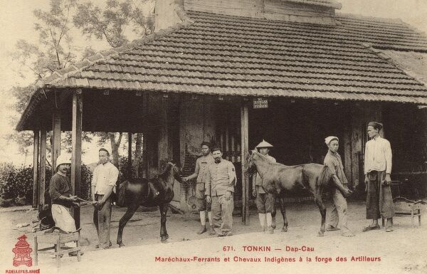 Two Colonial French officers have their Vietnamese ponies re-shod at a Tonkin (Dap Cau)French Military Forge, North Vietnam Date: circa 1910s
