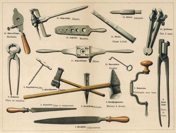 A range of tools used by a blacksmith or ironsmith, including pincers, a hook, files, a hammer and a mallet