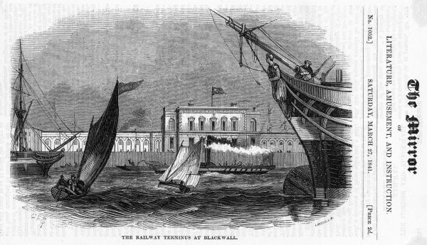 The Thames at Blackwall, showing the railway terminus
