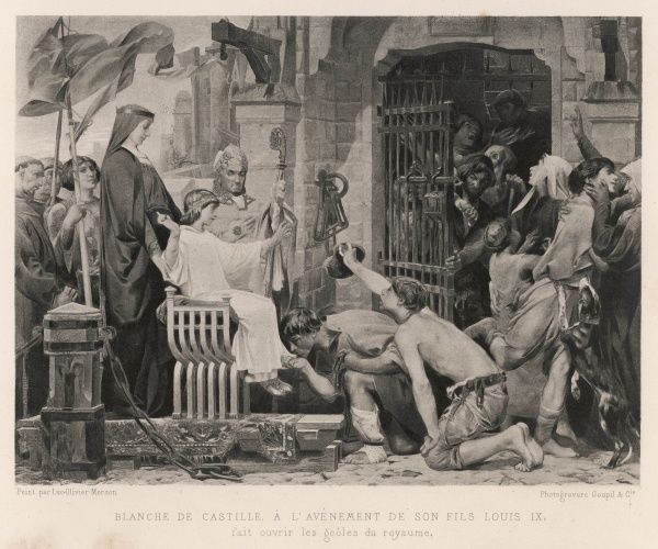 When her son becomes king, Blanche de Castille, who has been acting as regent during his minority, releases prisoners from the country's prisons