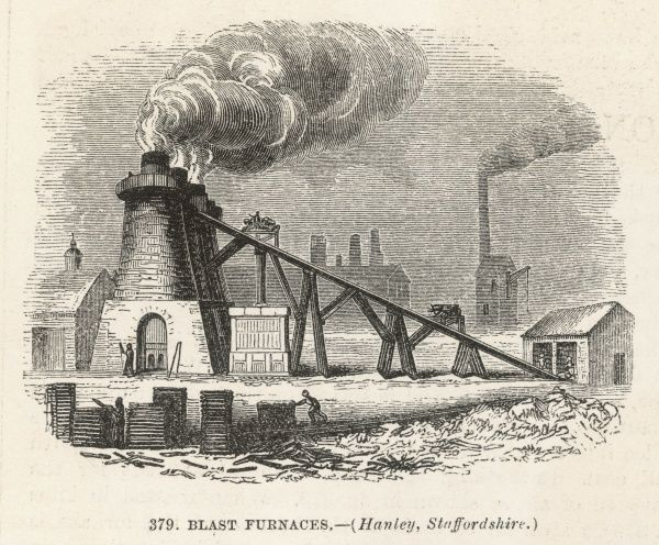 Blast furnaces at Hanley, Staffordshire