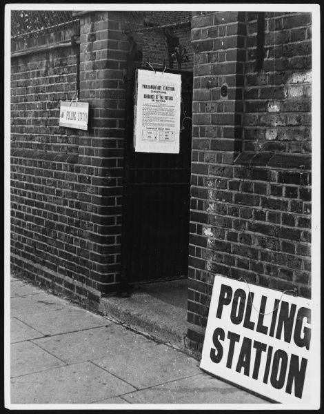"The entrance to a rather bleak and deserted Polling Station, with the ""Directions for the Guidance of the Voters"" pinned to the door"