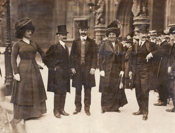The famous French aviator, Louis Bleriot, posing with others after a luncheon given in his honour at the House of Commons in London, in the year he achieved the first flight across the English Channel. From right to left are Norbert Chereau