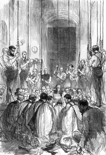 Engraving showing the ceremony held to bless the newly installed bells of St. Paul's Cathedral, London, in 1878. The image shows a group of clergy, kneeling in prayer, and the ringers, members of the 'Ancient Society of College Youths&#39