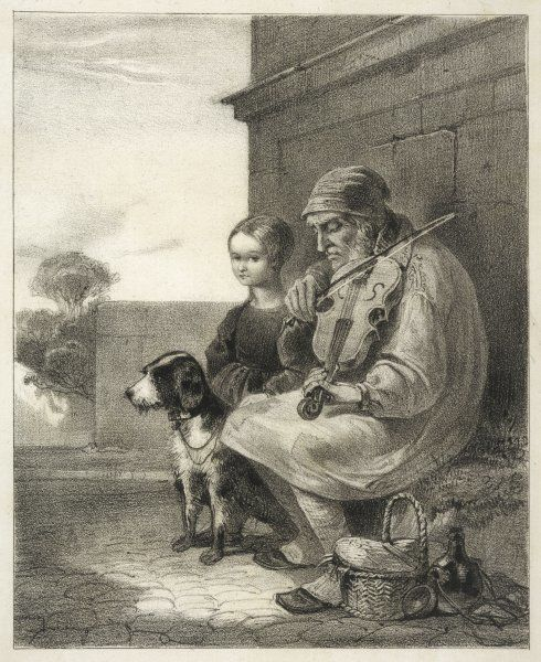 A blind fiddler and his dog