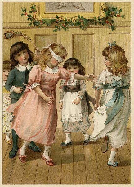 Children playing Blind Man's Buff at a party Date: 1885