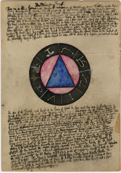 Undated handwritten text regarding and colour illustration of The Bloksberg Tryst. HPF/5C/52
